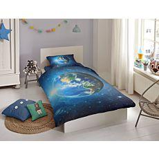 Bettwäsche mit grossem Erdball in blau