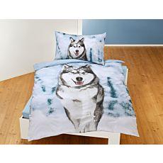 Bettwäsche mit Husky im Schnee