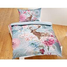Bettwäsche mit Hirsch und romantischem Blumenmotiv