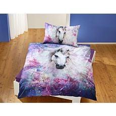 Bettwäsche mit zauberhaftem Einhorn in violetten Farbtönen