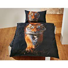 Bettwäsche schwarz mit grossem Tiger