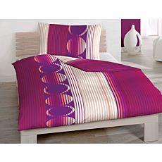 Bettwäsche mit farbigem Streifenprint und Kreismuster
