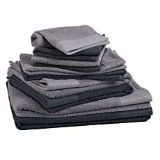 Linges éponge, lot de 10 anthracite-gris