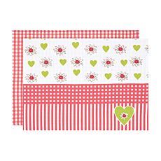 Tischset kariert mit Edelweissblüten und Herzen in Rot- und Grüntönen