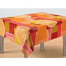 Vinyl-Tischdecke mit Mandala-Motiven orange-rosa-gün