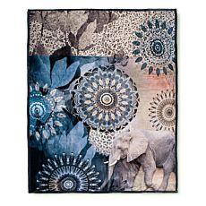 Couverture douillette et moelleuse en fibre polaire avec éléphant et motif de mandalas