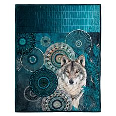 Weiche, flauschige Fleecedecke mit Wolf und Mandala-Federmuster