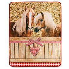 Couverture en fibre polaire avec chevaux