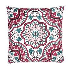 Coussin décoratif orné d'un motif de style fleurs et feuilles