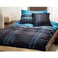 Linge de lit élégant noir, bleu & blanc