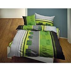 Linge de lit aux coloris vert-gris-noir