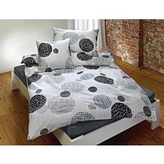 Bettwäsche mit Kreismuster in grau und schwarz