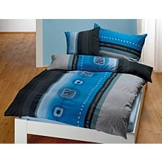 Linge de lit à motif graphique en bleu-anthracite-noir