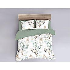 Linge de lit en satin fin avec feuilles style aquarelle