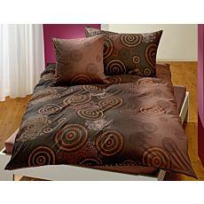 Linge de lit à cercles et motif de mandala dans les tons de bruns