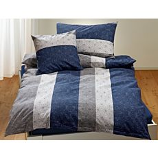 Linge de lit à bandes longitudinales et fin motif étoilé, dans les tons bleu et gris