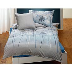 Linge de lit à motif de pissenlits sur fond gris