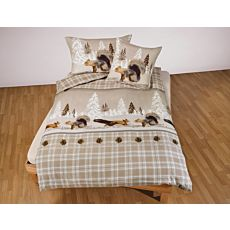 Linge de lit avec écureuils et pives de sapin sur un fond enneigé