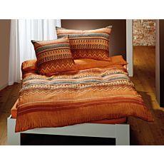 Bettwäsche mit einem Mix aus Zick-Zack und Streifen in Orangetönen