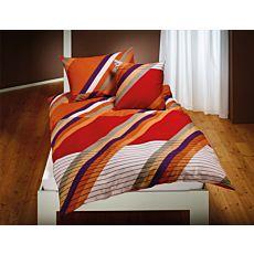 Linge de lit à rayures branchées rouge-orange-blanc