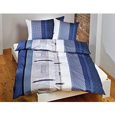 Linge de lit avec motif de carrés et de rayures en bleu