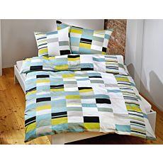 Linge de lit avec motif de carreaux bleu-vert
