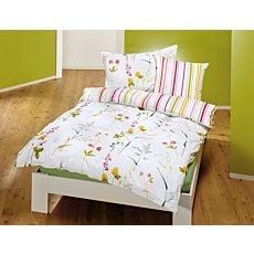 Linge de lit avec motif printanier de fleurs sur fond blanc