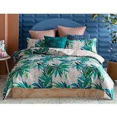 KAS Bettwäsche mit Blätterprint in den Farbtönen Grün und Zartrosa