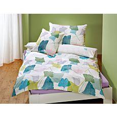 Bettwäsche mit bunten Ginkgoblättern auf weissem Grund