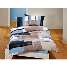 Linge de lit à motif de carreaux en bleu-taupe