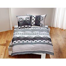 Linge de lit imprimé de mandalas, gris-blanc