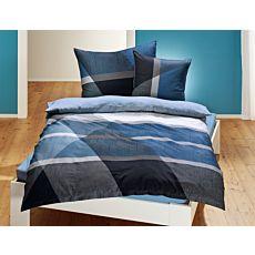 Bettwäsche in blauem Streifenmuster