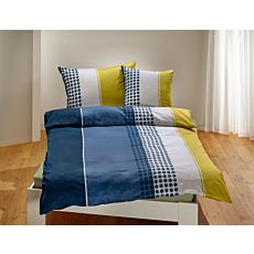 Linge de lit à rayures longitudinales et motif de carreaux