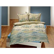 Linge de lit avec motif botanique en vert tilleul