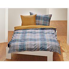 Linge de lit à carreaux bleu-gris
