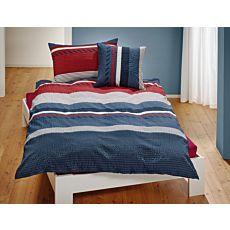 Linge de lit à rayures, en rouge et gris