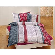 Linge de lit au motif alliant rayures et flocons de neige