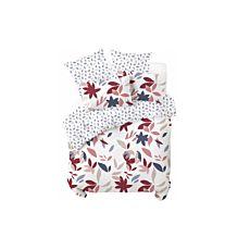 Bettwäsche mit farbigem Blättermuster auf weissem Grund