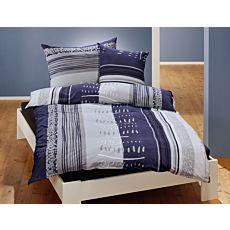Linge de lit à fines rayures et motif de pois en bleu