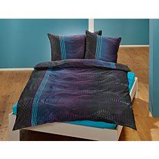 Bettwäsche mit Oszillogramm-Muster in dunkelblau und schwarz