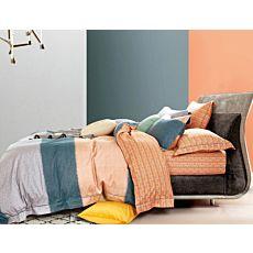 Linge de lit à motif genre rayures et motifs d'anneaux couleur saumon