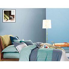 Linge de lit à motif genre rayures et motifs d'anneaux en bleu