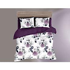 Linge de lit avec motif fleuri en blanc et violet