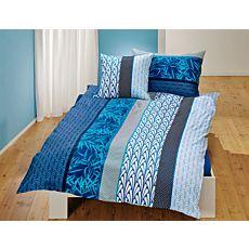 Linge de lit avec motif de feuilles dans des beaux tons de bleu