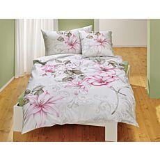 Linge de lit orné d'un beau motif floral en rose et olive