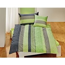 Linge de lit rayé orné d'un beau motif décoratif en gris et vert