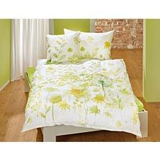 Linge de lit à motif fleuri dans les coloris vert et jaune