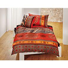 Linge de lit avec motif de mandalas aux couleurs rouge et orange