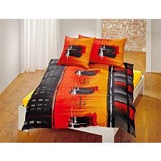 Linge de lit au motif moderne en noir-orange et différents tons de rouge