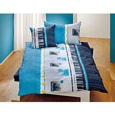 LInge de lit au motif branché de rayures et de carreaux